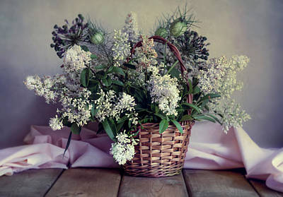 Photograph - Still Life With Fresh Privet Flowers In The Basket by Jaroslaw Blaminsky