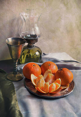 Art Print featuring the photograph Still Life With Fresh Tangerines And Oil Lamp by Jaroslaw Blaminsky