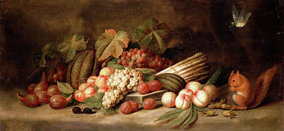 Painting - Still Life With Fruit And A Squirrel by Jan Frans van Son
