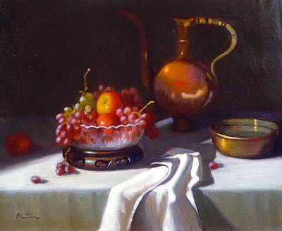 Still Life With Fruit And Cut Glass Bowl Art Print by David Olander