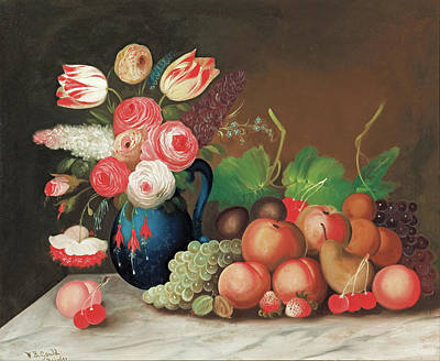Painting - Still Life With Fruit And Flowers by W B Gould