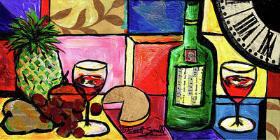 Still Life With Fruit And Wine #300 Original by Everett Spruill