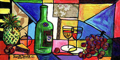 Painting - Still Life With Fruit And Wine #301 by Everett Spruill