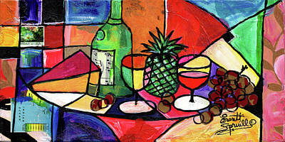 Mixed Media - Still Life With Fruit And Wine #303 by Everett Spruill