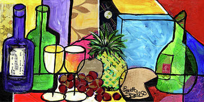 Still Life With Fruit And Wine #305 Original by Everett Spruill