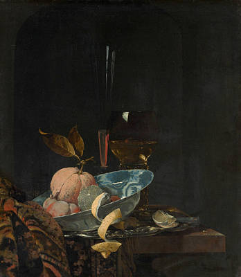 Dutch Painting - Still Life With Fruit, Glassware, And A Wanli Bowl by Willem Kalf
