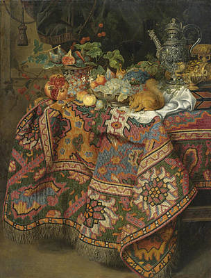 Still Life With Fruit Gold And Silver Vessels And A Squirre Art Print by Guiliam Gabron