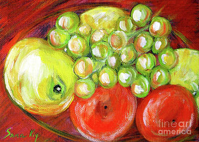 Painting - Still Life With Fruit. Painting by Oksana Semenchenko