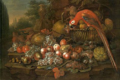 Still Life With Fruits And A Parrot Art Print by George William Sartorius