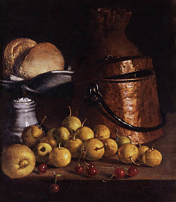 Painting - Still Life With Fruits And Cooking Utensils by Luis Egidio Melendez