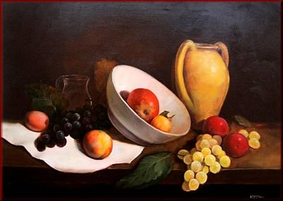 Italy Town Large Painting - Still Life With Fruits by Salvatore Testa