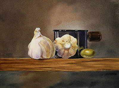 Onion Painting - Still Life With Garlic And Olive by Irina Sztukowski