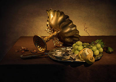Photograph - Still Life With Gilded Tazza - Oysters And Grapes by Levin Rodriguez