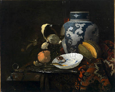 Painting -  Still Life With Ginger Pot And Porcelain Bowl by Willem Kalf