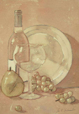 Still Life With Glass And Plate  Art Print