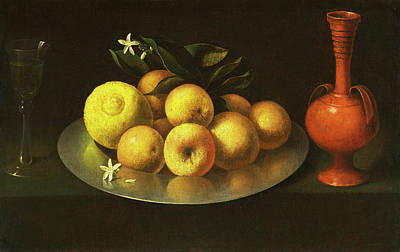 Painting - Still Life With Glass, Fruit, And Jar by Circle of  Francisco de Zurbaran