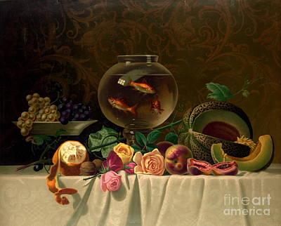 Still Life With Goldfish 1873 Art Print by Padre Art