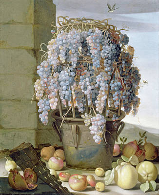 Painting - Still Life With Grapes And Other Fruit by Luca Forte