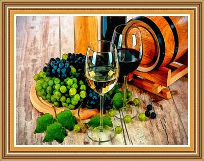 Still Life Royalty-Free and Rights-Managed Images - Still Life With Grapes And Wine Glasses L B With Decorative Ornate Printed Frame. by Gert J Rheeders