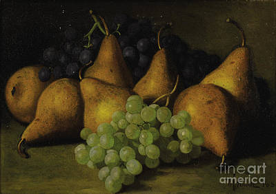 Still Life With Grapes And Yellow Pears Art Print by Celestial Images