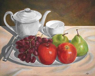 Still Life With Grapes Apples And Pears Original by Mandy  Dargin