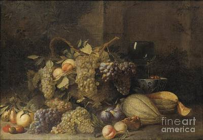 Glass Of Wine Painting - Still Life With Grapes Basket by Celestial Images