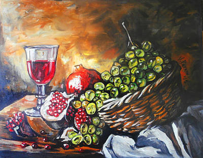 Naturmort Painting - Still Life With Grapes by Vladimir Petrov