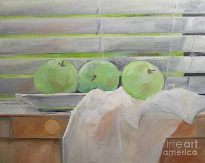 Still Life With Green Apples Original by Barbara Moak