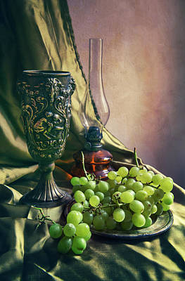 Art Print featuring the photograph Still Life With Green Grapes by Jaroslaw Blaminsky