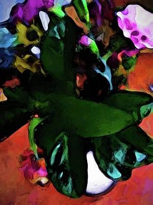 Digital Art - Still Life With Green Leaves And A Pink Floor by Jackie VanO