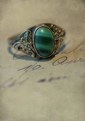Photograph - Still Life With Green Stoned Ring by Jaroslaw Blaminsky