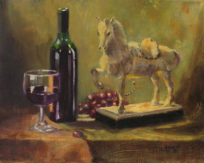 Bottle Painting - Still Life With Horse by Laura Lee Zanghetti