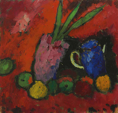 Still Life With Hyacinth, Blue Pitcher And Apples Art Print