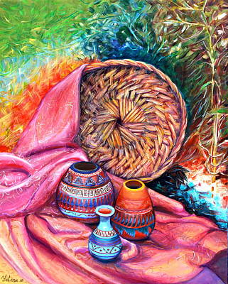 Still Life With Indian Pottery  Art Print