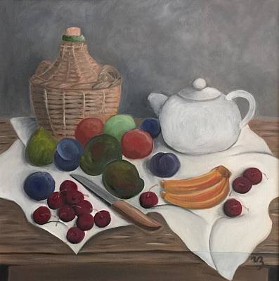 Painting - Still Life With Jug Wine And Fruits by Victoria Lakes