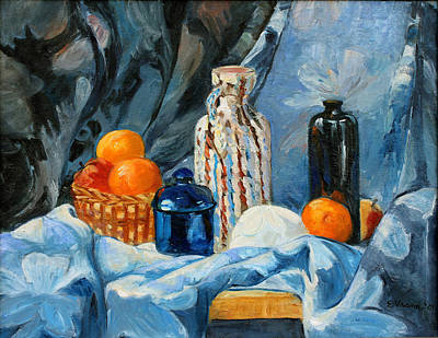 Still Life With Jugs And Oranges Art Print by Ethel Vrana