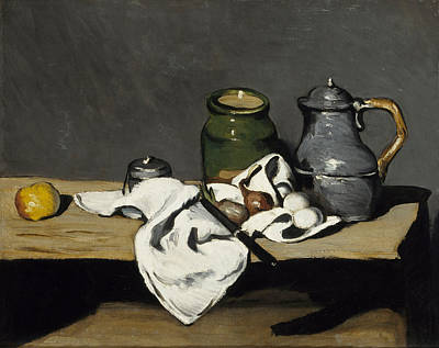 Fruit Painting - Still Life With Kettle by Paul Cezanne