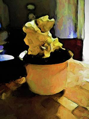 Digital Art - Still Life With Leaning Ice Cream Of Gold by Jackie VanO