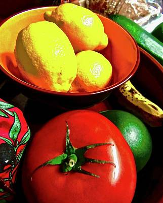 Photograph - Still Life With Lemons And Tomato by Stephanie Moore