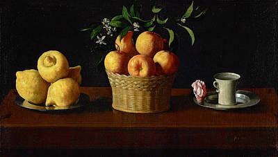 Still Life With Lemons Oranges And A Rose Art Print by Francisco de Zurbaran