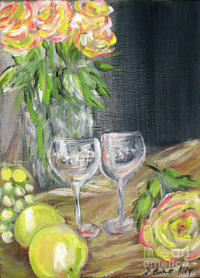 Still Life With Lemons, Roses  And Grapes. Painting Art Print