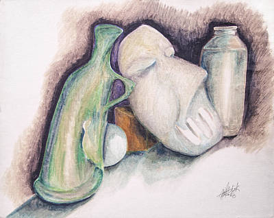 Art Print featuring the drawing Still Life With Mask by Keith A Link