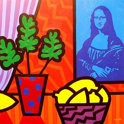Homage Painting - Still Life With Matisse And Mona Lisa by John  Nolan