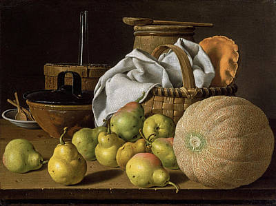 Luis Sales Painting - Still Life With Melon And Pears by Luis Egidio Melendez