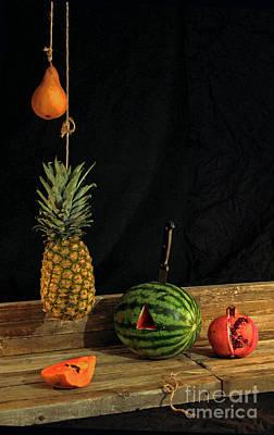 Still Life With Melon Art Print by Joe Jake Pratt