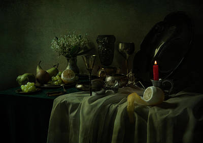 Still Life With Metal Dishes, Fruits And Fresh Flowers Art Print