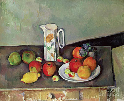 Interior Still Life Painting - Still Life With Milkjug And Fruit by Paul Cezanne