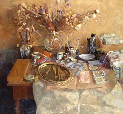 Painting - Still Life With Mirror by Ben Rikken