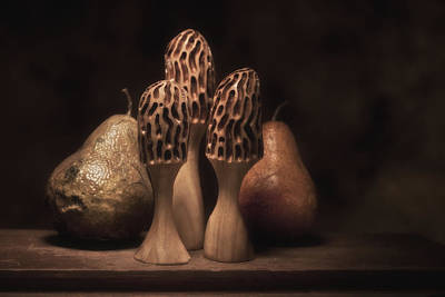 Hand Carved Photograph - Still Life With Mushrooms And Pears I by Tom Mc Nemar