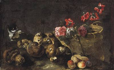 Still Life With Mushrooms, Fruit, A Basket Of Flowers And A Cat Art Print